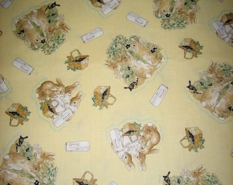 Flopsy, Mopsy and Cotton-tail fabric Beatrix Potter yellow background( BTHY )