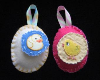 Homemade 10 felt egg ornaments