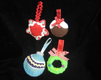 Felt Christmas tree ornaments (set of 4) MADE TO ORDER