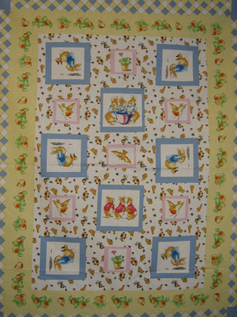 Gorgeous Duck and Bunny Cotton Cot Panel