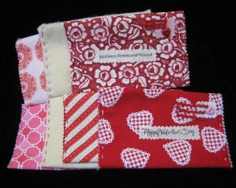 Valentine homemade felt and fabric envelopes
