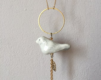 Light grey ceramic bird necklace
