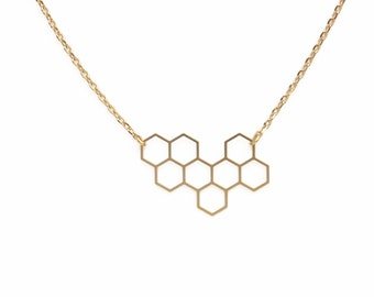 """ELEMENTS - Gold plated honeycomb necklace """"Ruche"""" (ENC03)"""