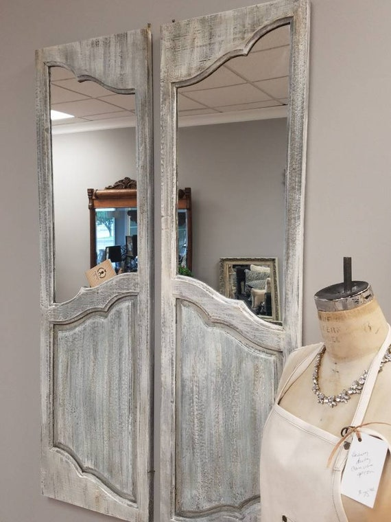 Pair Of Old Door Mirror Wall Hangings