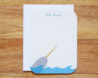 Personalized Narwhal Stationery - Set of 12