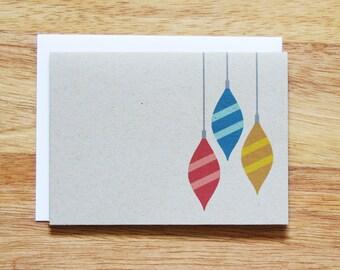Retro Ornaments Holiday Christmas Greeting Card