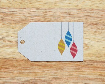 Retro Ornaments Holiday Christmas Gift Tags - Set of 6