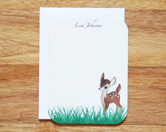 Personalized Fawn Stationery - Set of 12