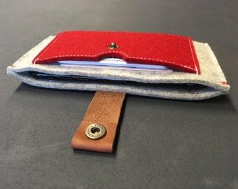 48021a3abb6 iPhone Xs / Xr / 8 wallet case - rood & grijs en woolfelt sluiting kaarten  geval - ecofabric Dutch Design - minimalistische portemonnee gratis  verzending