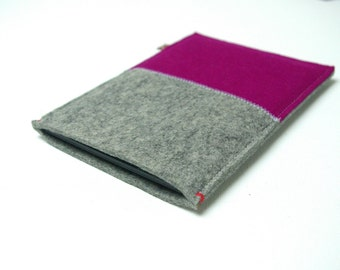 KINDLE  KOBO SLEEVE in grey + Dark Pink. For Paperwhite, Aura, Voyage, H2o. Ereader case.