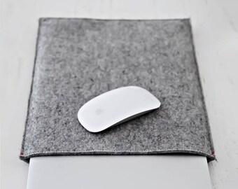 "MacBook PRO AIR 13"" / 12"" CASE felt sleeve in natural wool Grey Black Brown - laptop cover basic sleeve thin gray merino wool"