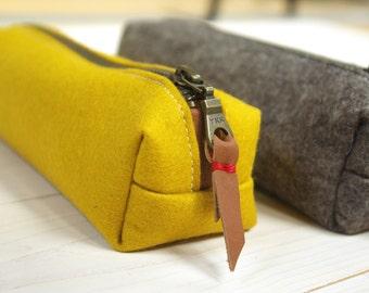 Felt pencil case - yellow and sandbrown zipper pouch makeupbag merino wool