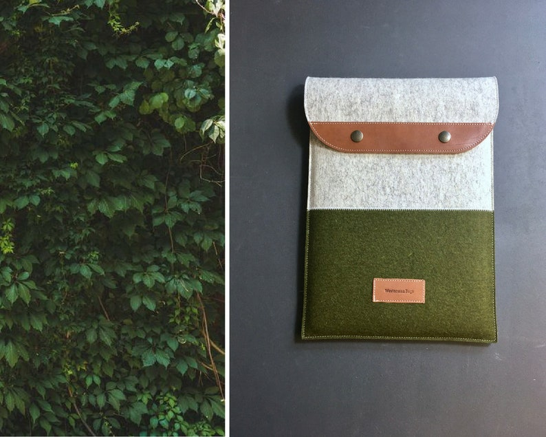 moss green and grey Macbook 13 pro cover natural eco wool felt and leather MacBook Air bag felt MacBook Pro 16 cover Macbook case