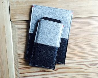 FELT IPHONE X 8 case sleeve- 2 colors gray grey felt -  for all iPhone models