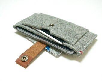 IPHONE 7 6 se WALLET FELT - grey 100% natural merino wool - leather closure wool felt case