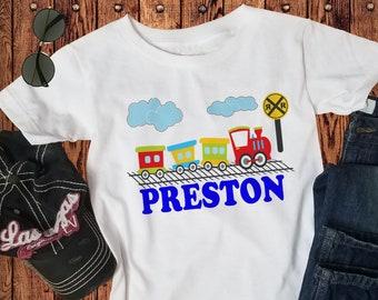 Personalized Train Shirt - Choo Choo Train TShirt - boys or girls kids Tee - Locomotive custom name shirt