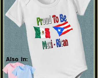 b9e8062e1 Proud to be Puerto Rican and Mexican nationality flag bodysuit - baby  bodysuit - heritage clothing baby bodysuit, baby shower gift