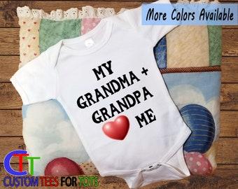 f43b5a37484a9e My Grandpa and Grandma love me Baby Bodysuit - Grandparents baby bodysuit  gift for boy- Grandma baby bodysuit for girl