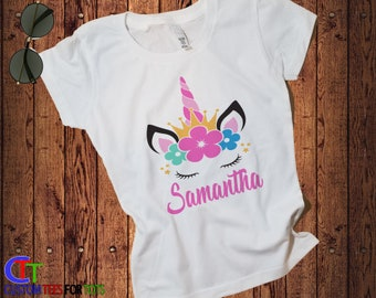 8e05e5c85 Girls Unicorn Shirt - Girls personalized Unicorn Flower Shirt - Unicorn  graphic Tee - Unicorn Personalized Graphic Shirt