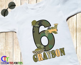 493a62af Army Shirt - Army Birthday Shirt - Big Number ARMY MILITARY Birthday T-shirt  tank jet camo personalized with name 1,2,3,4,5,6,7,8,9
