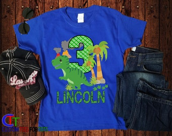 91d093606 Dinosaur Birthday Shirt - Dino Birthday Shirt, Personalized Birthday shirt  for boy, Green Dinosaur Birthday Shirt, Birthday Party Shirt