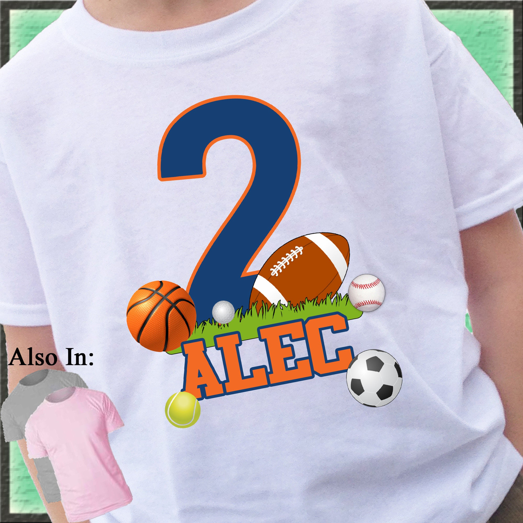 Big Number FOOTBALL All Sports Birthday Shirt Boy Or Girl T Ball