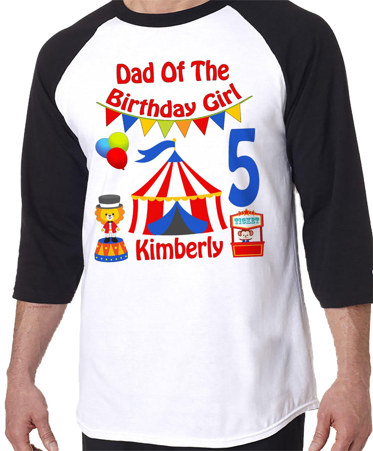 ADULT Dad Mom Aunt Of The Birthday GIRL Raglan Shirt