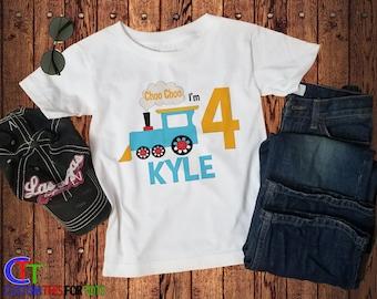 Train Birthday Shirt - Choo Choo I'm 1 2 3 4 5 Shirt - Personalized Bday Tee for Boy or Girl - Kids custom name and age birthday party