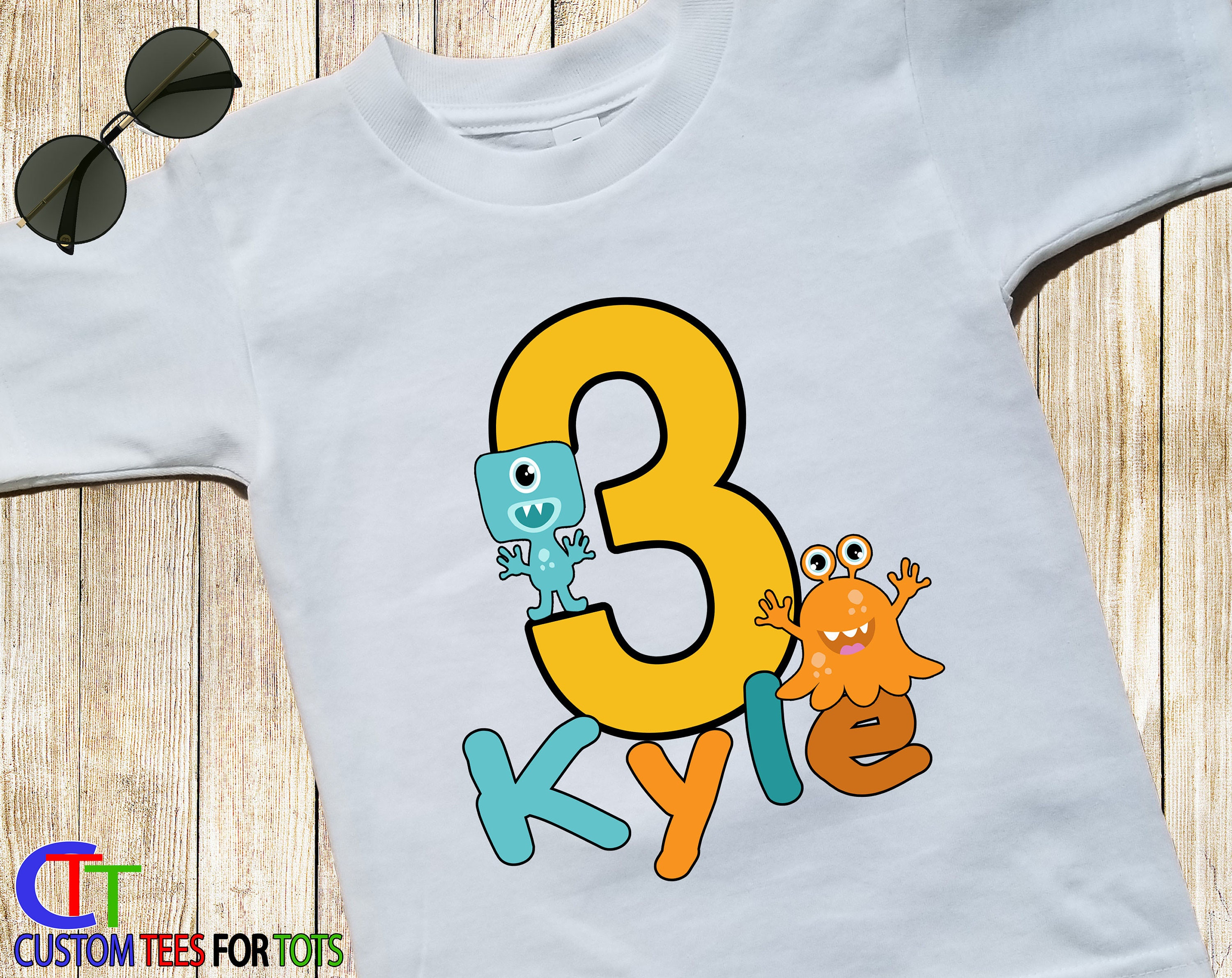 Big Number LITTLE MONSTER BOY Birthday T Shirt Cute Scary Personalized Name 123456789 Little Monster