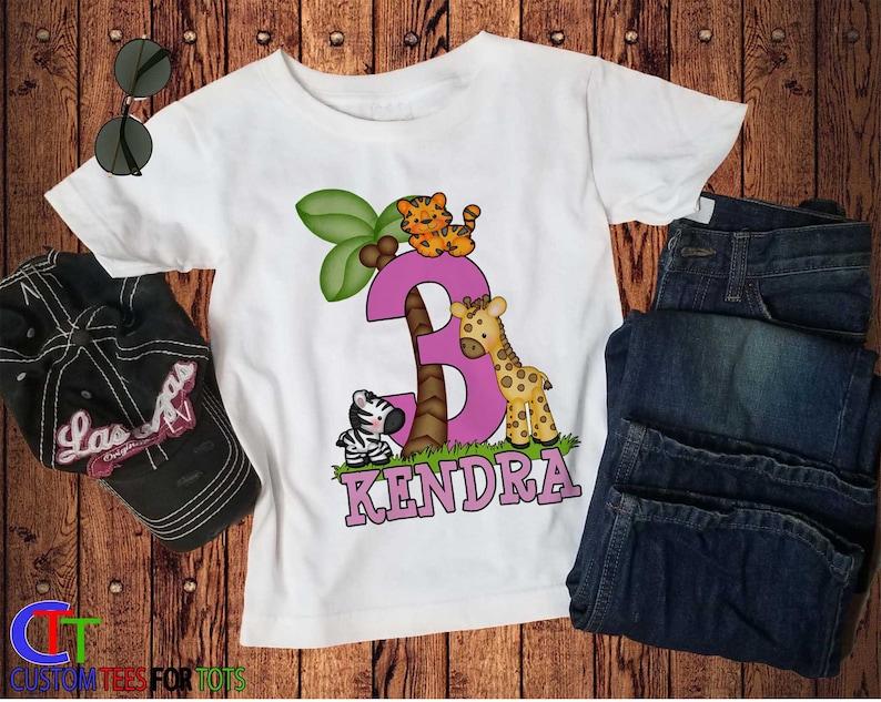 Safari Graphic Tee Safari Birthday Shirt Personalized Safari Birthday Shirt for Girl name age zoo shirt Birthday Party Shirt for girl