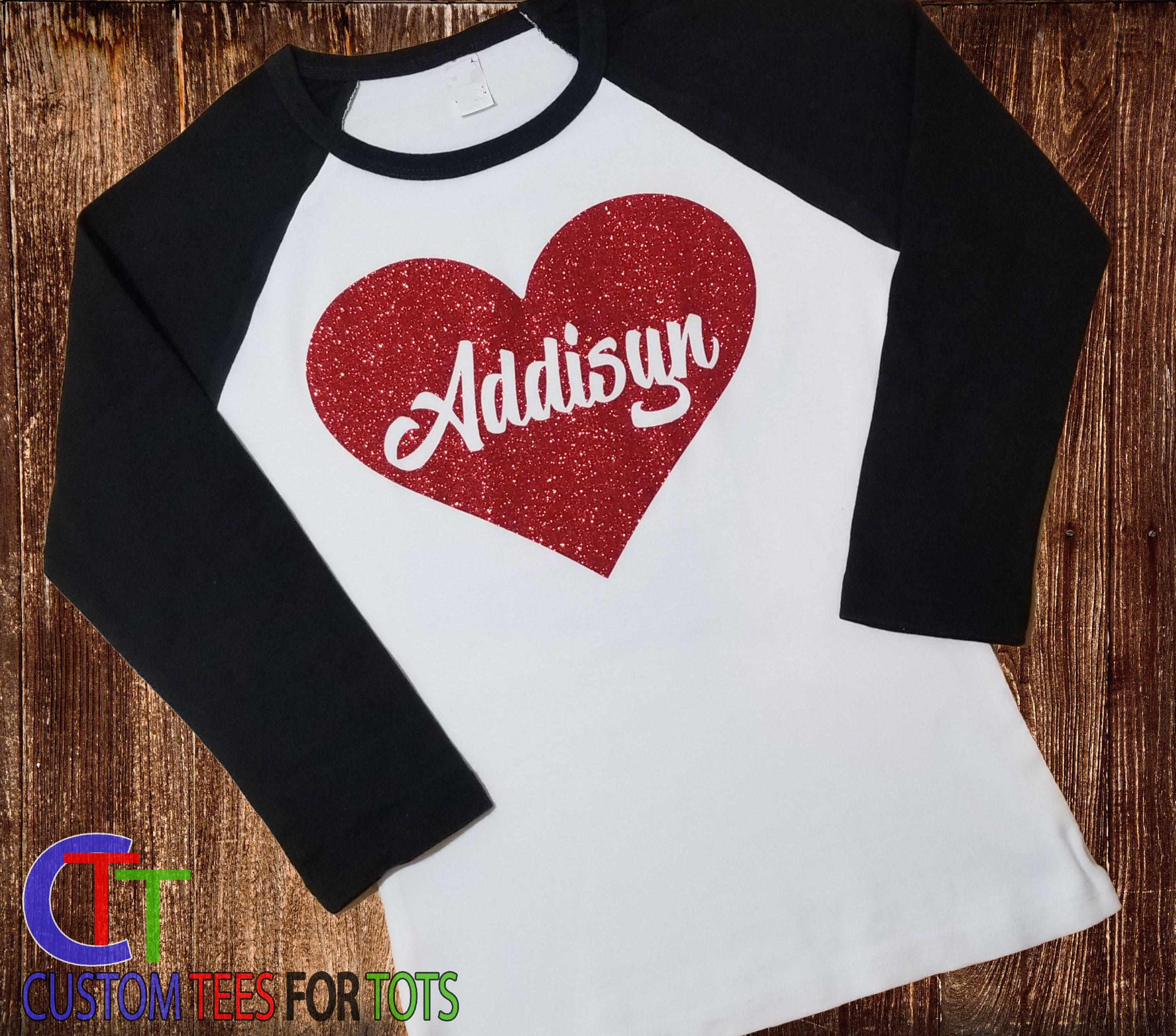 be45748ba6df Glitter Personalized Heart Shirt - Valentines Days Girls Glitter heart ...