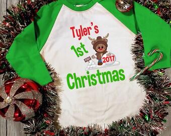 Baby's First 1st Christmas Raglan Shirt - 1st Christmas Shirt - Christmas Shirt - personalized Christmas shirt - Xmas Shirt - Reindeer