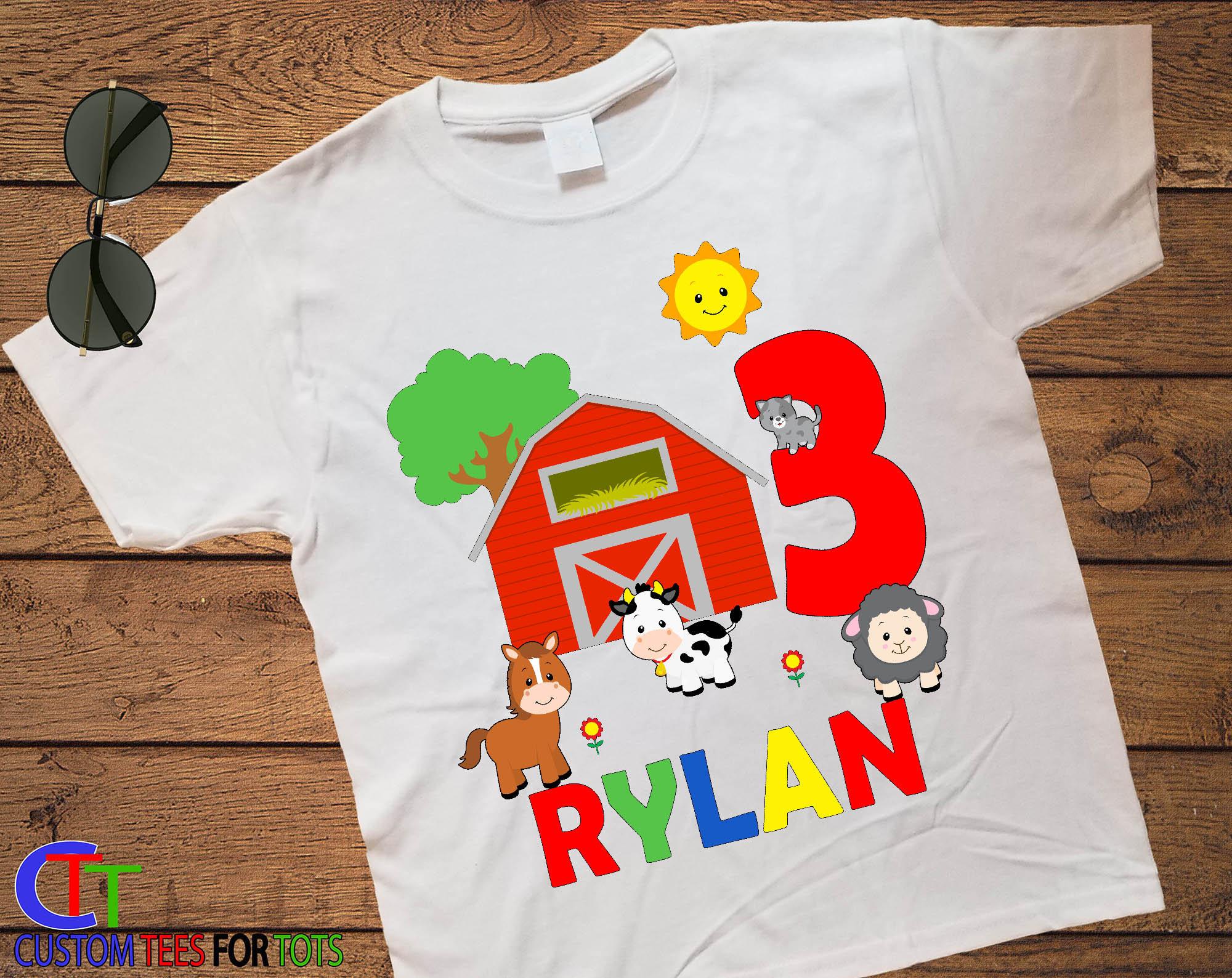 ce47b5dd Farm Animal Birthday Shirt - Boys Personalized Farm Birthday Shirt ...