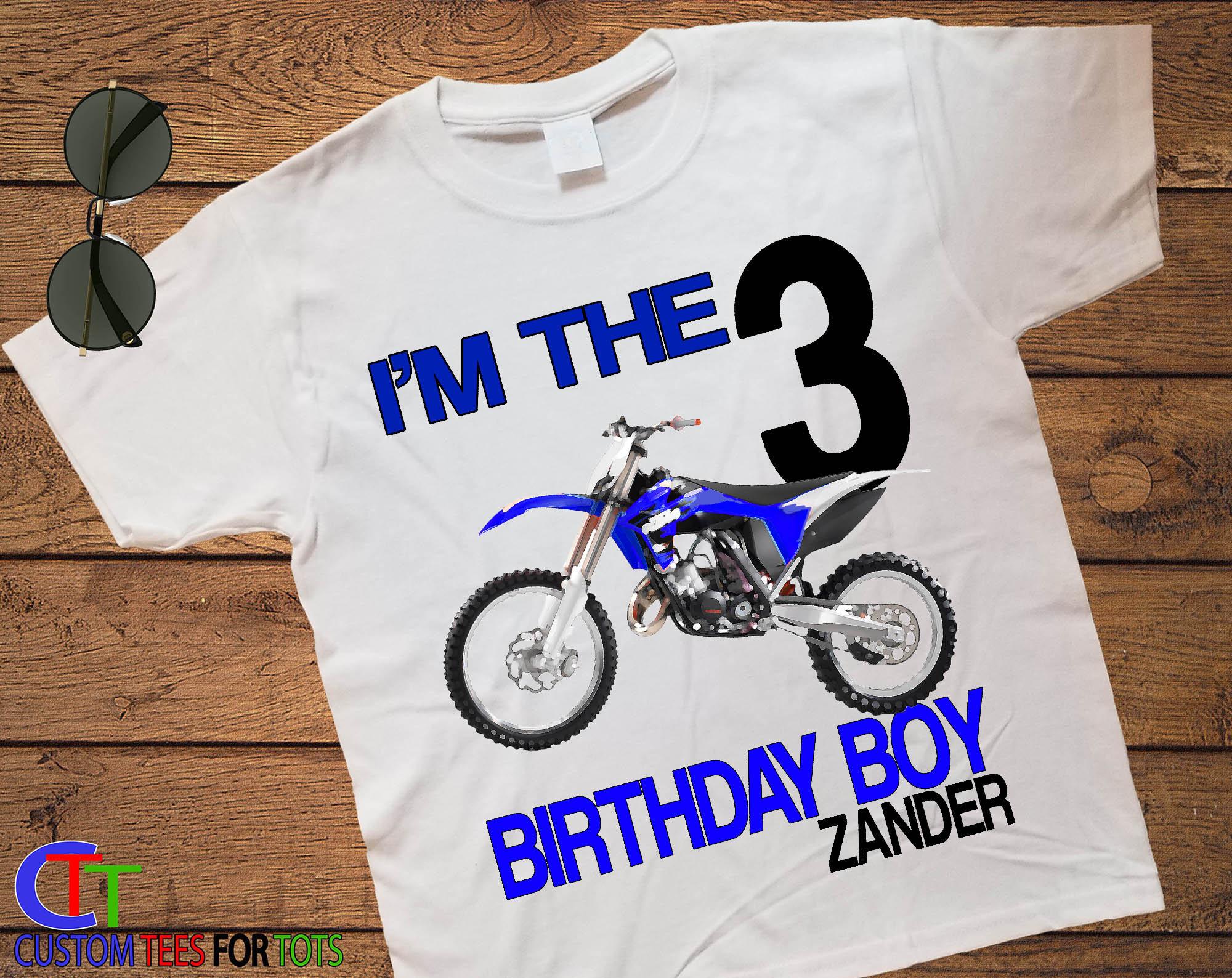 Boys Blue Dirtbike Birthday Shirt