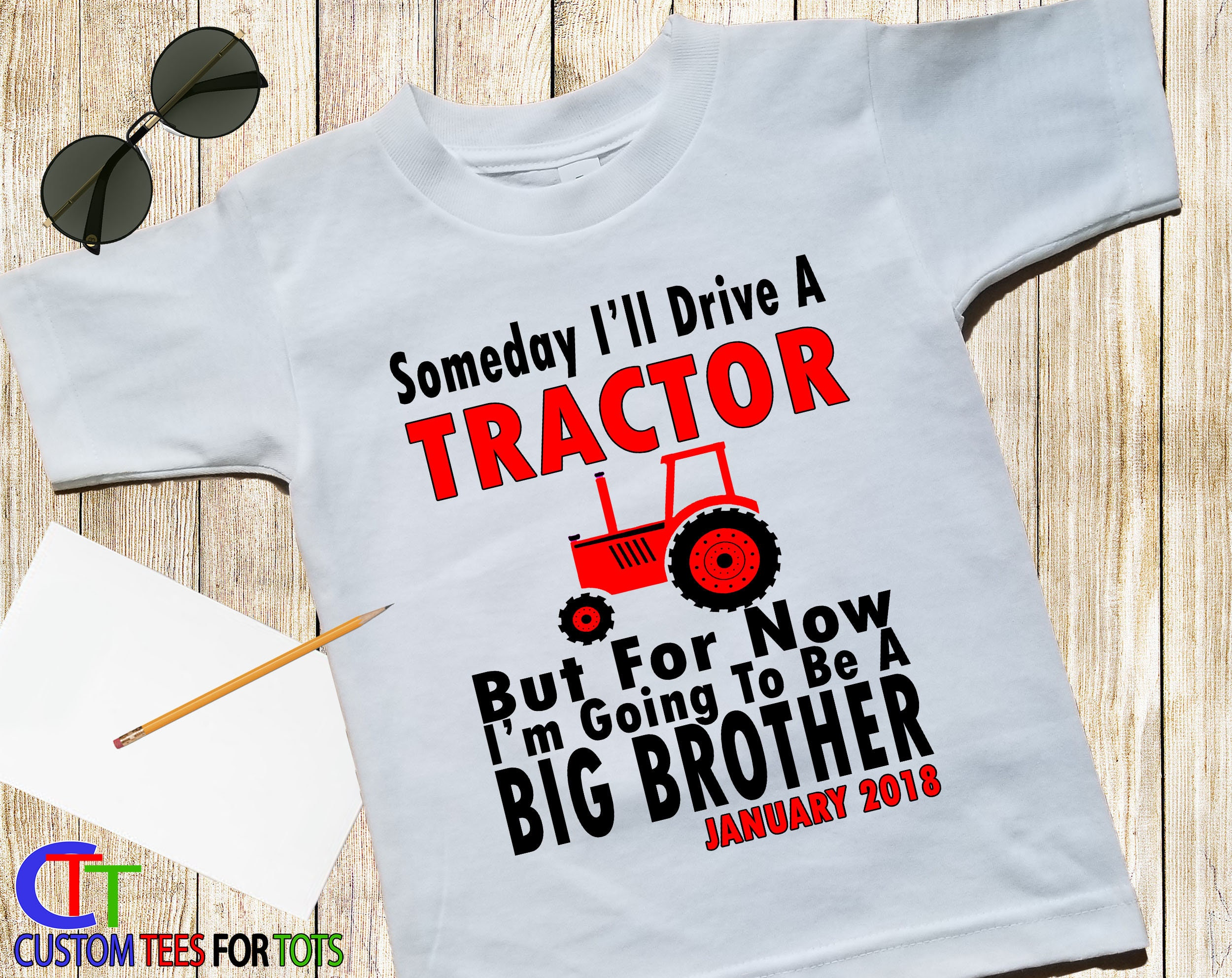 6ab877e9 Big Brother Shirt - Red Tractor Big Brother Shirt - Someday i'll Drive A  Tractor but for now i will be a Big Brother Shirt