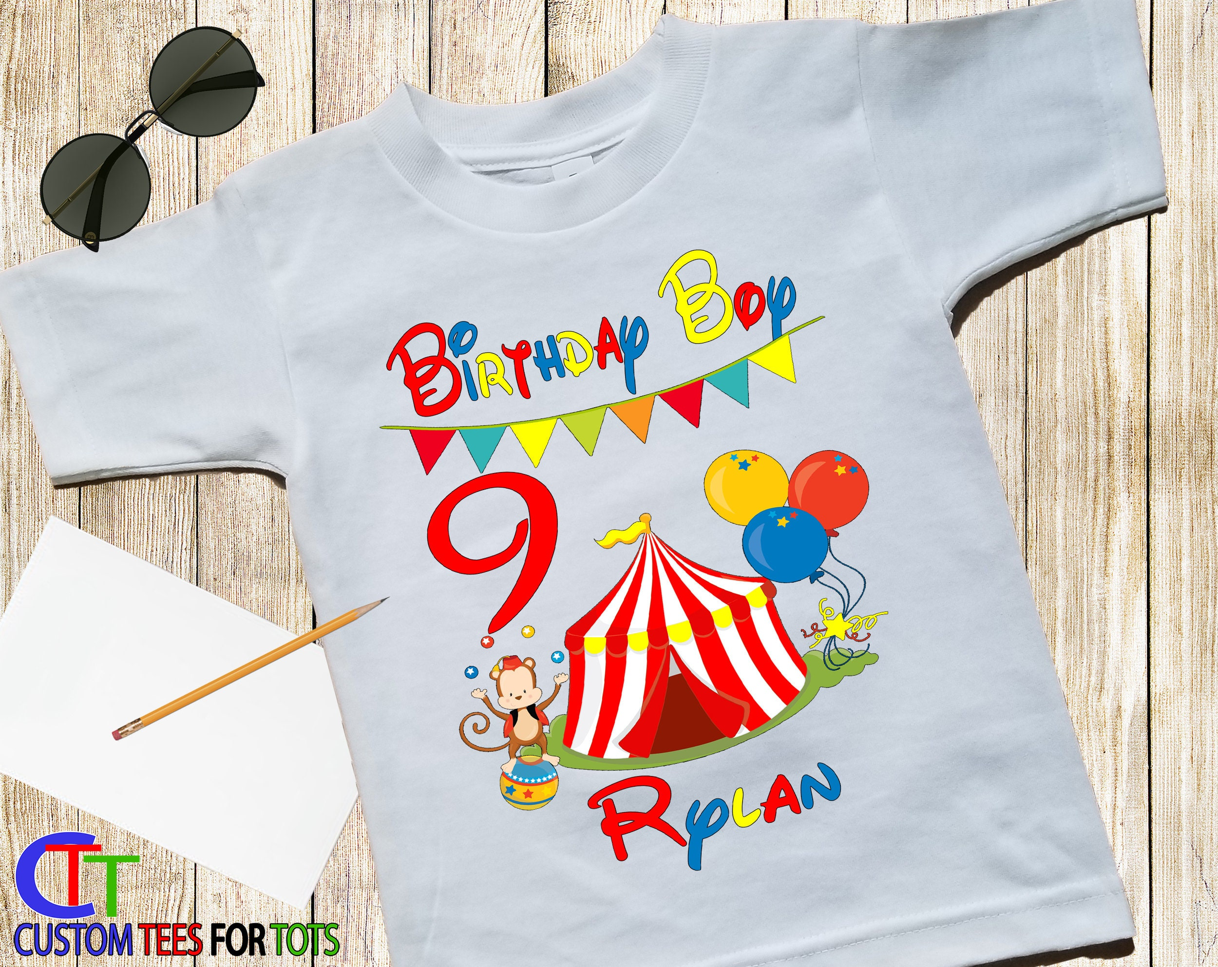 Boys Personalized CIRCUS Birthday Shirt Party