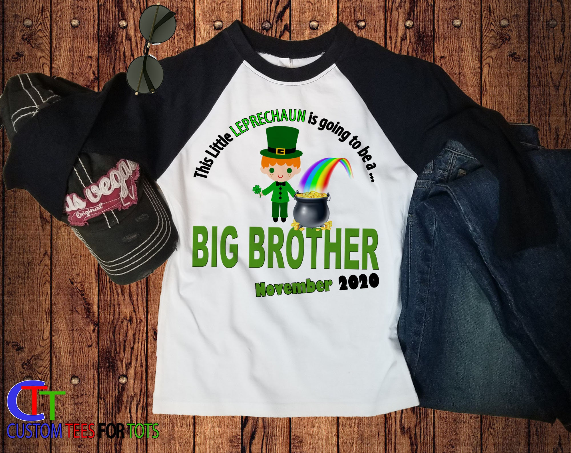 b53613372 ... Shirt - St Patricks Day Raglan - This Little LEPRECHAUN Is Going To Be  A Big Brother baseball tee - personalized irish tee. gallery photo gallery  photo
