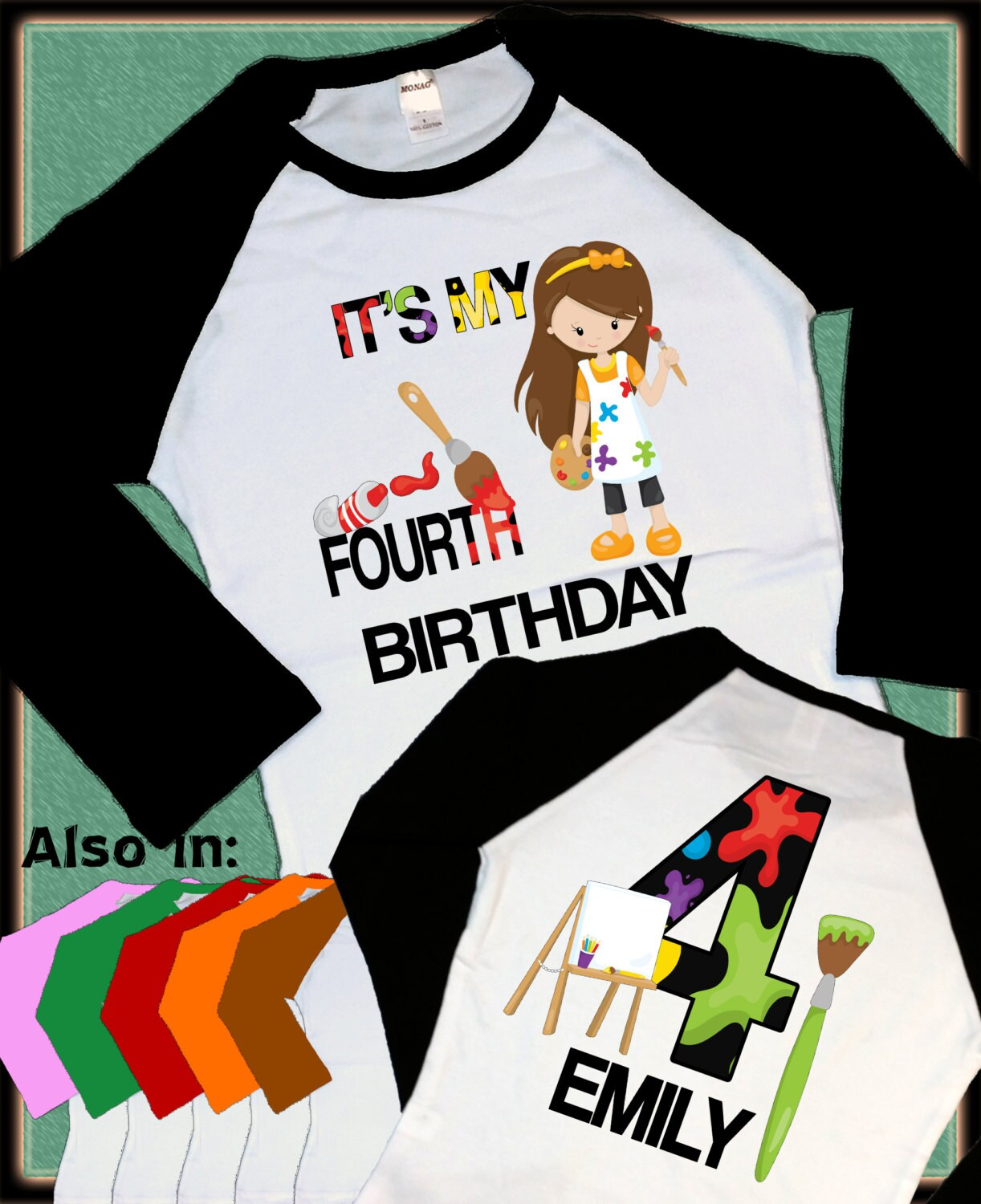 Number Birthday Raglan Personalized Shirt AGE NAME Gallery Photo