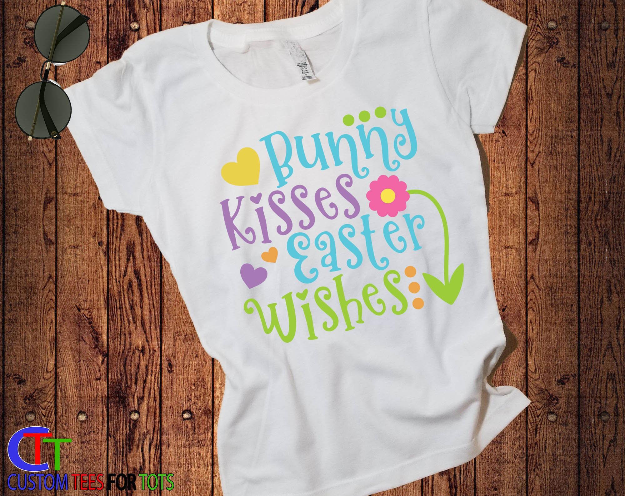 b512fe687 Girls Easter Shirt - Bunny Kisses Easter Wishes Shirt - Girls Easter egg ...