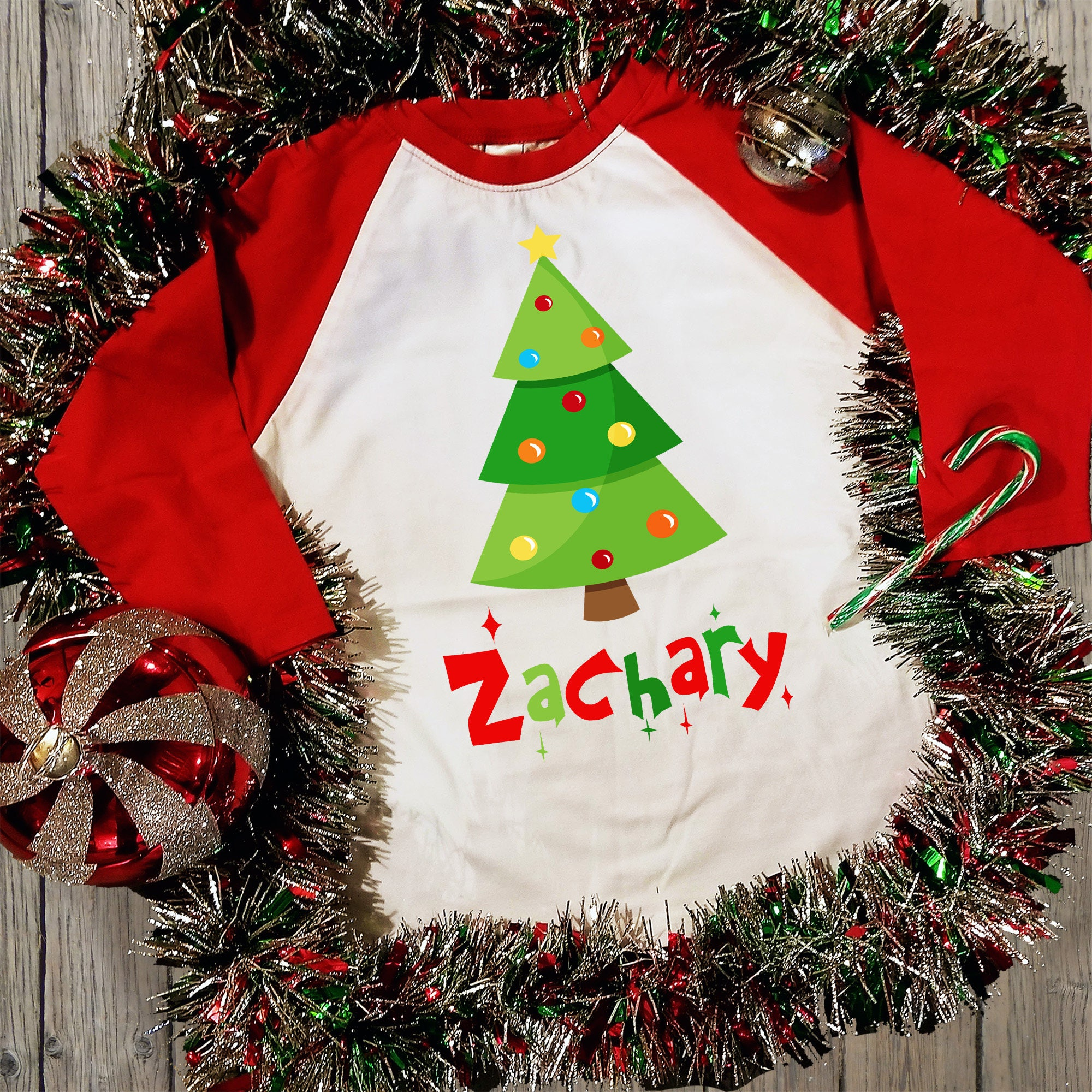 christmas tree raglan shirt personalized with name christmas decorations theme design holiday clothing xmas celebration shirt boy or girl - Christmas Decorations Names