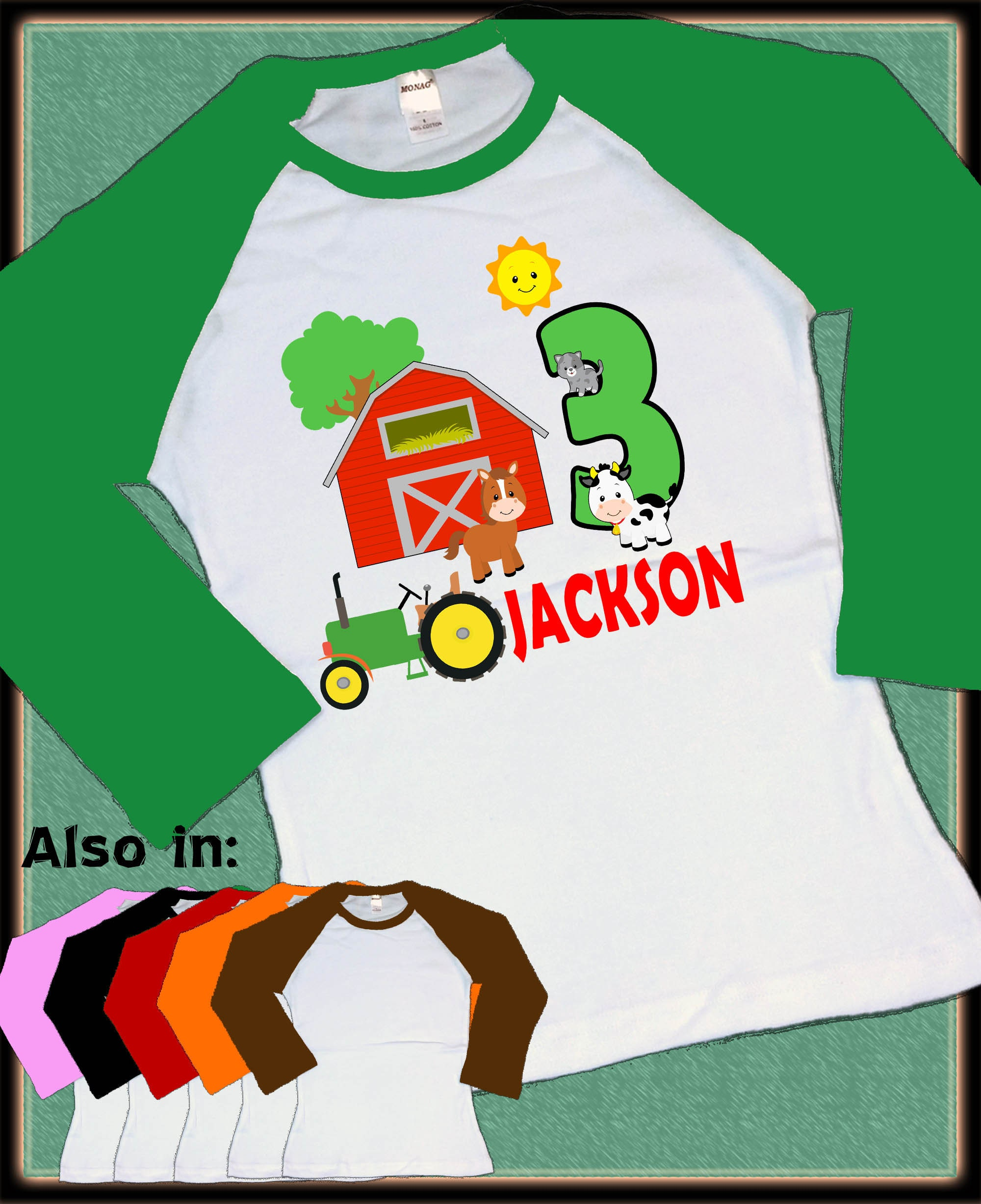 ede58e2f Tractor Birthday Shirt - Tractor Big Number Birthday Red Tractor Raglan  Shirt Personalized with name age farming theme design