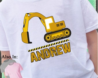 Heavy Duty Construction Excavator Shirt Personalized with Name Construction zone customized tshirt mud dirt