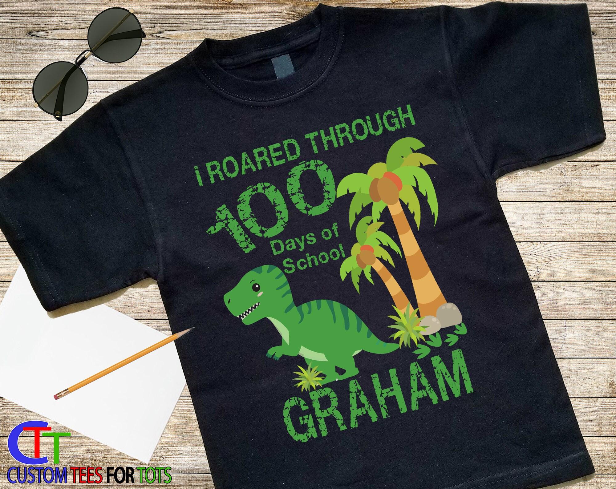Boys Dinosaur 100 Days Of School Shirt 100 Days Of School Shirt
