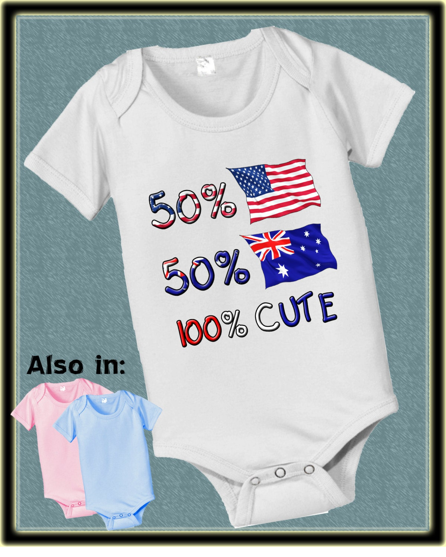 398d2e092 50 American USA 50 Australian 100 CUTE bodysuit Aussie Baby ...