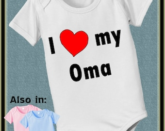 short sleeve and long sleeve I love my OMA bodysuit with heart pink white baby blue baby bodysuit, baby shower gift