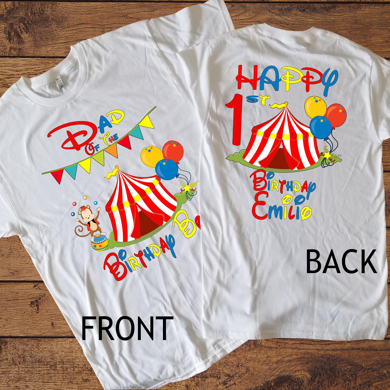 2 face anniversaire adulte garçon chemise - chemise pour anniversaire adulte anniversaire Circus - Circus Shirt - cirque personnalisé nom chemise - papa de la maman de garçon d'anniversaire de 588504