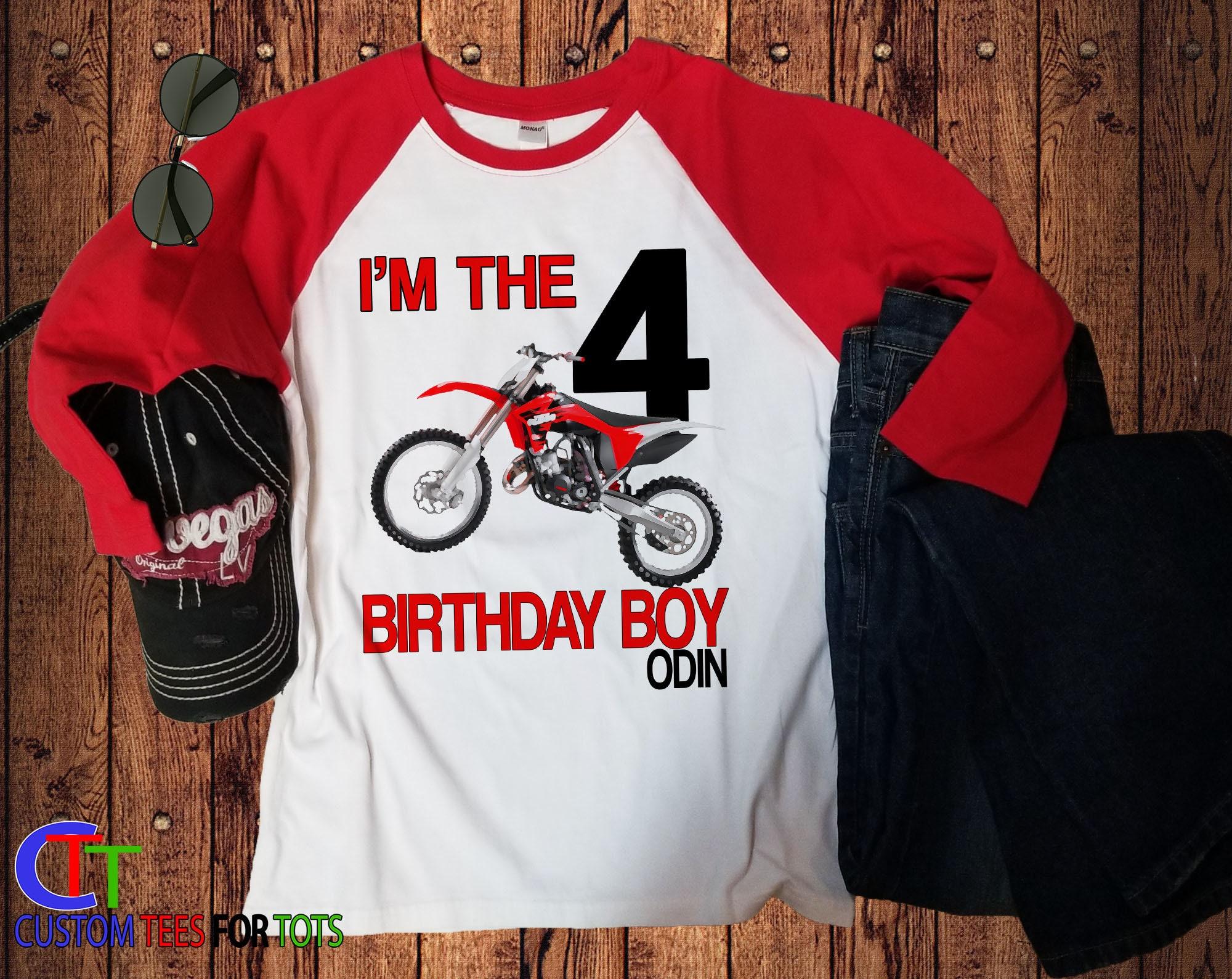 RED Dirtbike Birthday Raglan Shirt Personalized