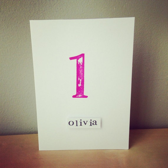 1st Birthday Card Hand Stamped With Retro Style Numbers X Etsy