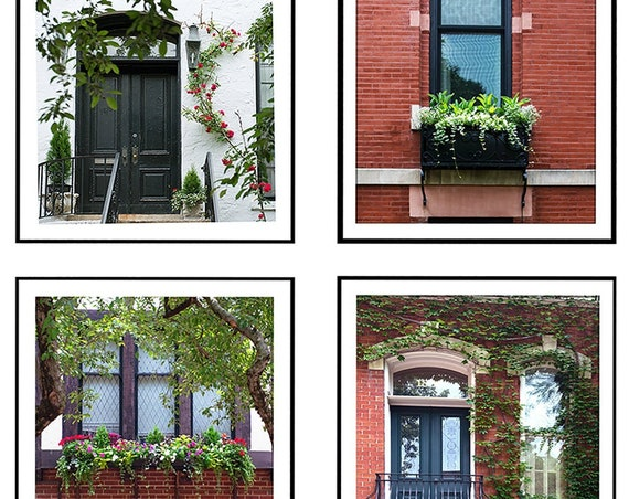 Set of Four City Prints, Urban Windowbox Prints, Doors and Windows Photography, Facades Prints, Brick and Floral Urban Scene