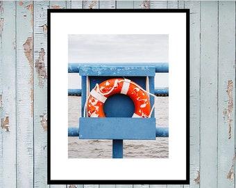 Life Preserver Photo, Coastal Home Decor, Beach Art Print, Nautical Print, Large Wall Art, Coastal Art, Cindy Taylor Print